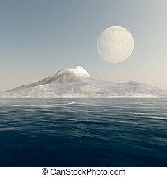 Full Moon over Mountain Sea