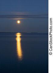 Full moon over night lake