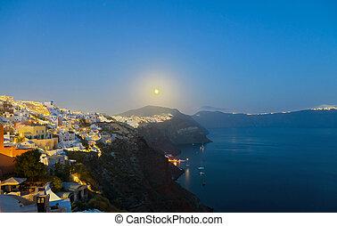 Full moon over Oia