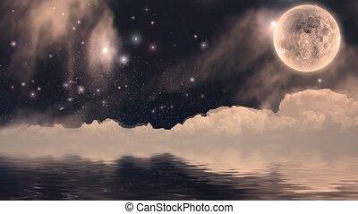 Full moon over quiet water