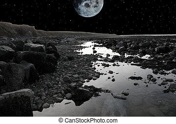 full moon over rocky beach