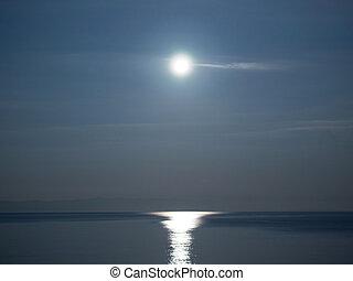 Full moon over sea landscape