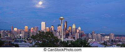 Full Moon Over Seattle Washington Skyline Panorama - Full...