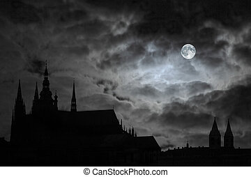 Full Moon over Transilvania - Full Moon over old castle,...