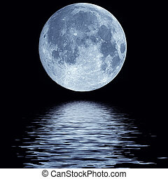 Full moon over water - Full blue moon over cold night water