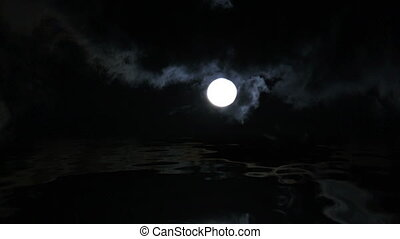 Full Moon Over Water Reflection - Time Lapse