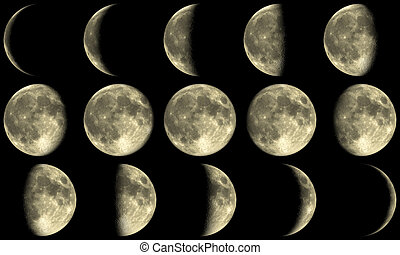 Full Moon Phases - yellow - the Moon with all phases during...