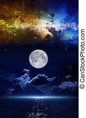 Full moon in night sky, mysterious glowing horizon over dark...