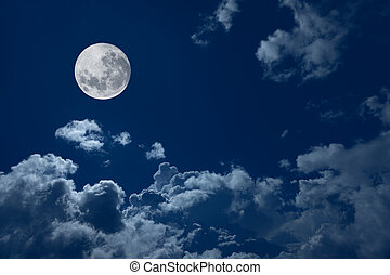full moon against blue sky and cloud