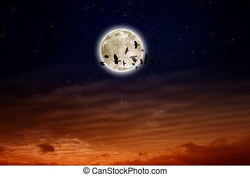 Full moon, ravens