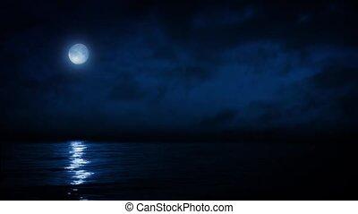 Full Moon Reflecting On Sea At Nigh