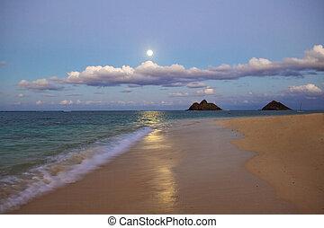 full moon rising at lanikai beach, hawaii