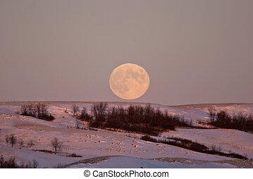 Full moon rising over a Saskatchewan ridge
