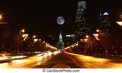 Full Moon rising over Philadelphia, Pennsylvania