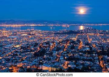 Full Moon Rising Over San Francisco. Aerial View From Twin Peaks.