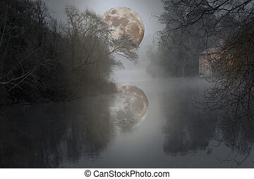 Full moon river - Photo composition with river, watermill...