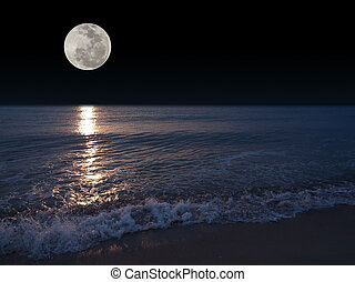 Full moon - Romantic tropical beach with beautiful full moon
