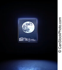 Full moon seen through the window