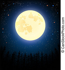 Full moon shines on a pine forest. Retro vector...