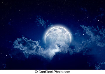 Full moon - Peaceful background, night sky with full moon,...