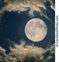 Full Moon - Grunge Image Of Full Moon