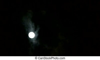 full moon through cloudy, night