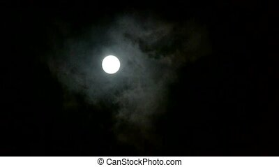 full moon through cloudy, night