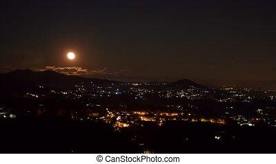 Full moon. - Timelaps of the rising of the full moon over ...