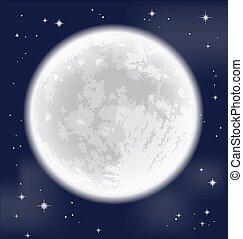 Full moon. Vector illustration. - Full moon. Freehand...