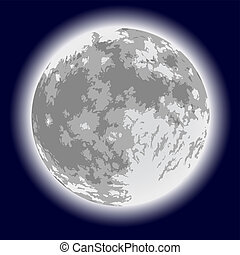 Full moon. Freehand drawing. Detailed vector illustration.