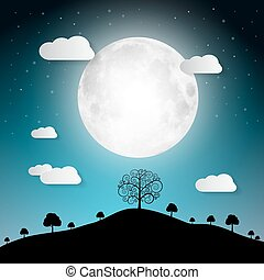 Full Moon Vector Illustration with Clouds and Trees on Hill