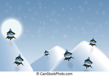 full moon winter night scene