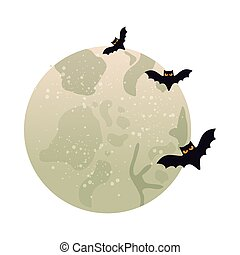 full moon with bats flying isolated icon