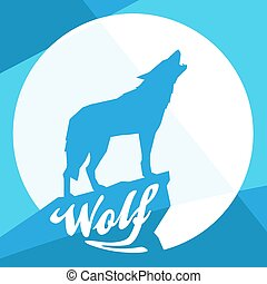 Full Moon with Howling Wolf Silhouette on Flat Abstract Blue Design