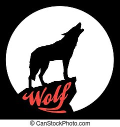 Full Moon with Howling Wolf Silhouette. Vector illustration.