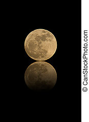 full moon with reflection isolated on black