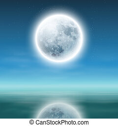 full moon with reflection on water at night. EPS10 vector.