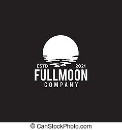 Full moon with water background template