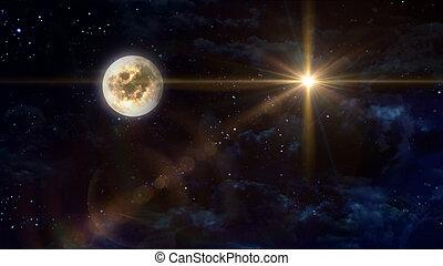full moon with yellow star cross