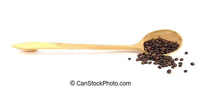 Full of coffee wooden ladle isolated