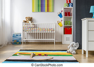 Full of colors and spacious baby room