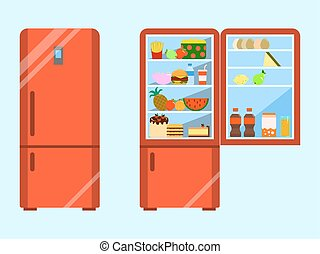 Full of food opened and close refrigerator. Fridge and fruit, freezer and vegetable. Flat design Vector