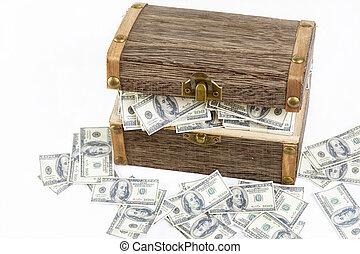full of money in wooden chest