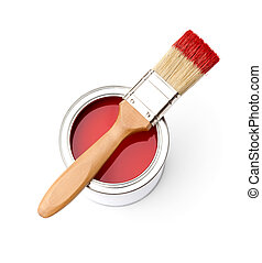 Full of red paint tin, paintbrush