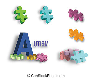 Full page of colorful Autism puzzle pieces and individual...