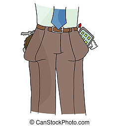 Full Pant Pockets - An image of a man with full pockets.