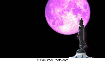 """Full pink moon and Buddha looking seven day style on the night sky, Makha Bucha Day is held full moon day on february or march"""