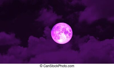 full pink moon rise on night sky and orange cloud moving pass