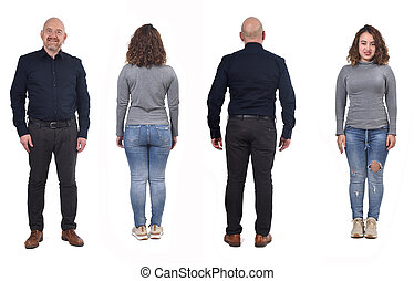Full portrait of a couple from behind on white