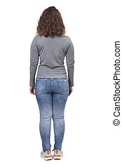 full portrait of a woman from behind on white,